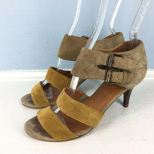 J CREW 5.5 Brown Suede Leather Strappy heels CUTE